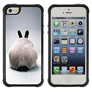 Suave TPU Caso Carcasa de Caucho Funda para Apple Iphone 5 / 5S / Rabbit Hare Bunny White Ears Furry Grey / STRONG