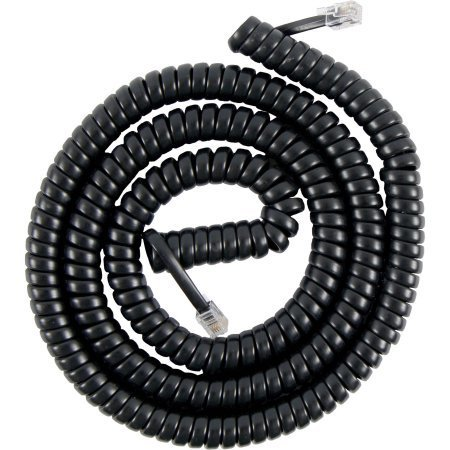 25′ Feet Black Coiled Telephone Phone Handset Cable Cord by Bistras