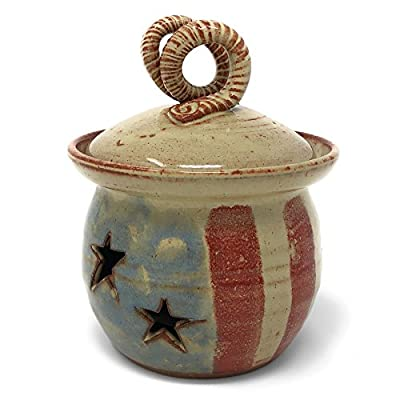 Old Glory Garlic Keeper by MudWorks Pottery