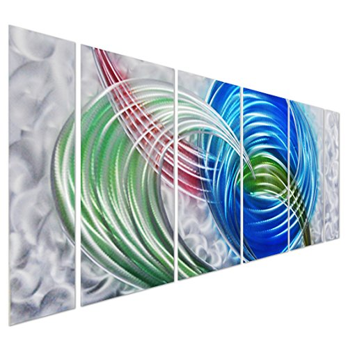Pure Art Primary Swirls - Colorful Abstract Rainbow Metal Wall Art Decor - Modern Large Hanging Sculpture - Set of 6 Silver, Green, Blue and Red Aluminum Panels for your Home, Office - 65