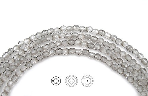 4mm (306) Crystal Silver Shade coated, 3x16in strands, Czech Fire Polished Round Faceted Glass Beads