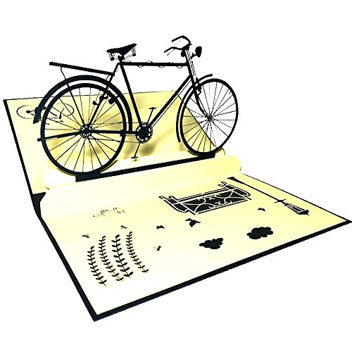 Bicycle Birthday Card (Handmade 3D Pop Up Birthday Cards Creative Greeting Cards Papercraft (180° Bicycle Card))