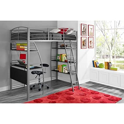 Amazon Com Twin Loft Bed With Integrated Desk And Shelves Silver