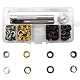 Renashed Grommet Kits 1/4 inch Grommets 120 Sets for Canvas Clothes Leather Self Backing 4 Colors