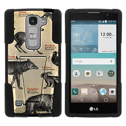 MINITUTLE Compatible with LG Escape 2 High Impact Silicone Gel and PC Fusion Strike with Stand Phone Case Hunting | Forest Animals