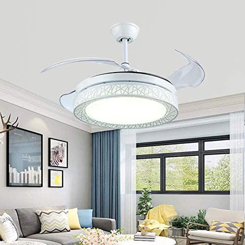 Panda 42 Retractable Ceiling Fan with Ligh, Ceiling Fan Chandelier with Remote 3 Colors Change, 4 Blades Retractable Fans Chandelier Mute motor For Bedroom Living Room Dining Room