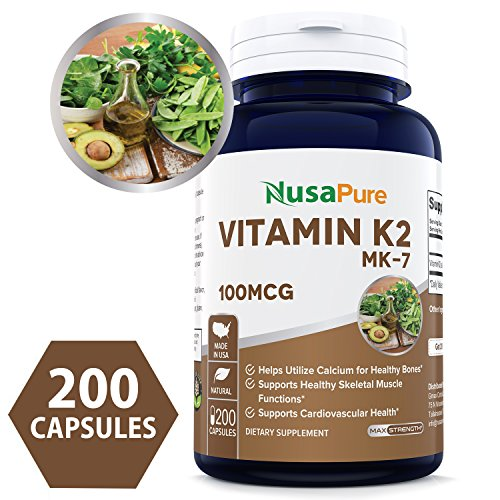 Best Vitamin K2 MK7 - MenaQ7 100mcg 200 Caps (NON-GMO & Gluten Free) - Helps Utilize Calcium For