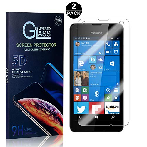 Nokia Microsoft Lumia 550 Tempered Glass Screen Protector, UNEXTATI Screen Protector Film, HD Clear Tempered Glass Film for Nokia Microsoft Lumia 550 (2 Pack) (Nokia Lumia 550)