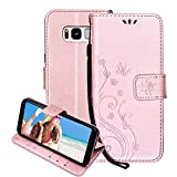 For Samsung Galaxy S8 Case Wallet ,Areall[Butterfly Flower Vine Design] Premium Flip Folio Leather Back Cover with Kickstand Card Slots ID Holder Magnetic Closure Snap - Rose Gold