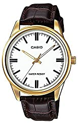 Casio MTP-V005GL-7A Men's Gold Tone Brown Leather Watch