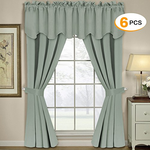 2 Piece Set Bedroom Set (Thermal Insulated Grommet Blackout Curtains for Bedroom (Set of 6 PIECE, Include 2 Panles of W52 x L84 -Inch, 2 PIECE of Valances W52 x L18 - Inch, 2 PIECE of Tie Backs, Solid Sage) - by H.Versailtex)