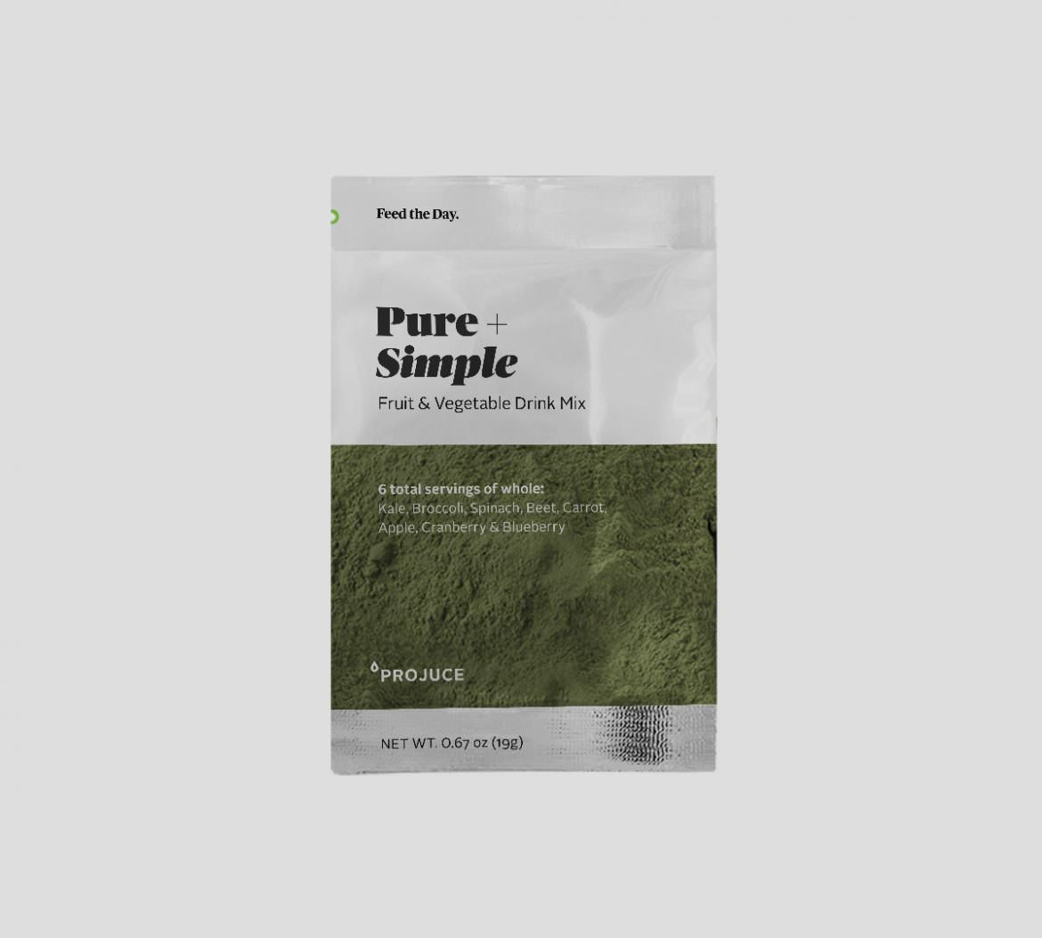 Pure + Simple Juice Powder — 6 servings of whole, raw and organic fruits & vegetables — Kale, Broccoli, Spinach, Beet, Carrot, Apple, Cranberry and Blueberry blend — 10 pouch pack (19g each)