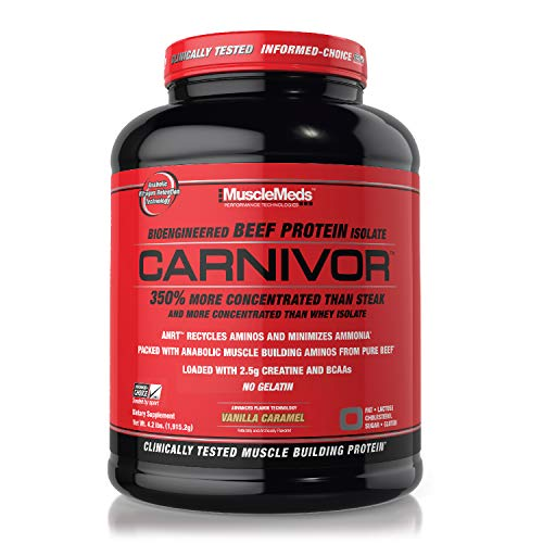 MuscleMeds Carnivor Bioengineered Beef Protein Isolate, Vanilla Caramel, 4.2 Pound