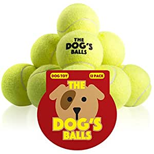 The Dog's Balls, 12 Premium Dog Tennis Balls, Ball for Puppy Training, Play, Exercise & Fetch, Fits Chuckit Launchers, Bouncy Dog Tennis Balls Thicker Than Regular Balls, The King Kong of Balls