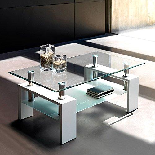 Moderna y original mesa de centro transparente, con balda inferior y patas lacadas en blanco.