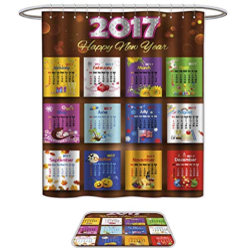 QianHe Shower Curtain and Mat SetCalendar for 2017. Set of 2 Machine Washable