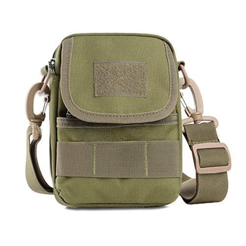Athletic Mesh Messenger Bag - Tactical Messenger Bag,U-TIMES Multiple Function Small Nylon Shoulder Bag Molle Pouch - Adjustable Sling - Rugged Fabric(Army Green)
