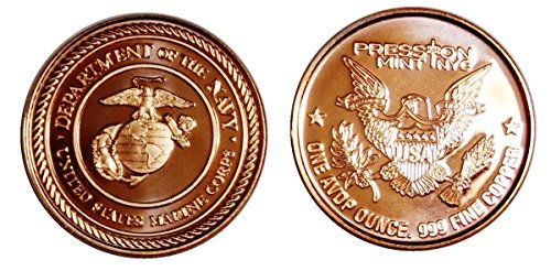 1 – 1 Ounce Marine Tribute Copper Round Collection No Grade