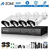 A-ZONE 8-Channel HD-TVI 1080P Lite Video Security System DVR and (4) 960P Indoor/Outdoor Weatherproof Cameras with IR Night Vision LEDs- with 1TB HDD,White