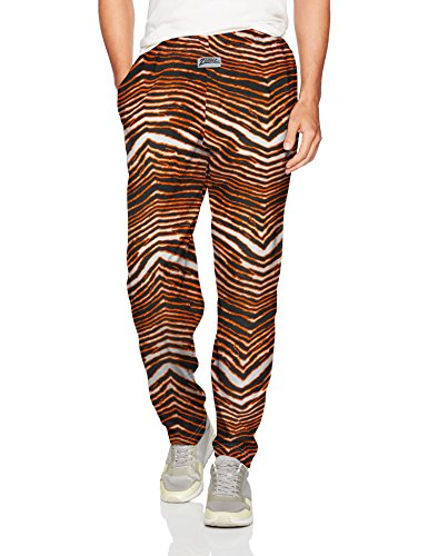 Zubaz Men's Classic Zebra Printed Athletic Lounge Pants, Black/Orange, -