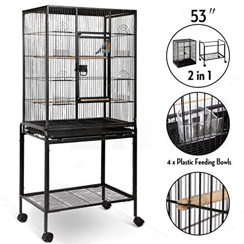 Large Brid Flight Cage Portable Parrot Cages Pet Supplies Birdcages Parrot Finch Macaw Cockatoo Large Birdcage Stands W/ Casters Wheels 25x17x 53'' High