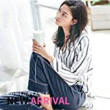 Sleepsuits Women Cotton Striped Long-Sleeved Pajamas Spring and Autumn Fashion V-Neck Can be Worn Outside Home Service Suits (Size : XL) for You (Size : Medium)