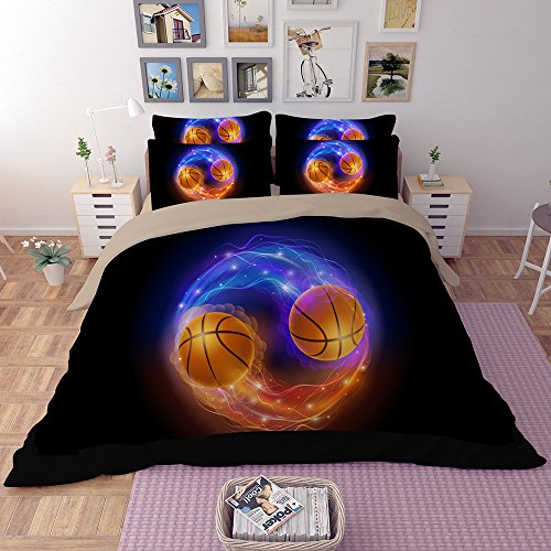 Fantastic Abstract Basketball Microfiber 3pc 104''x90'' Bedding Quilt Duvet Cover Sets 2 Pillow Cases King Size by DIY Duvetcover