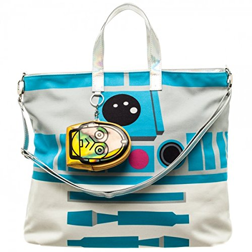 Super Cute Looking Star Wars R2-D2 Droid Tote Bag with C3P0 Coin Purse Attached Womens Fashion Geek Bags
