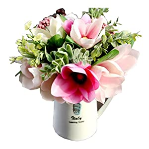 Outtop 6 Heads 11.8 Inch Camellia Magnolia Artificial Flowers Bouquets Fake Flower for Home and Wedding Decoration 6 Pcs 21