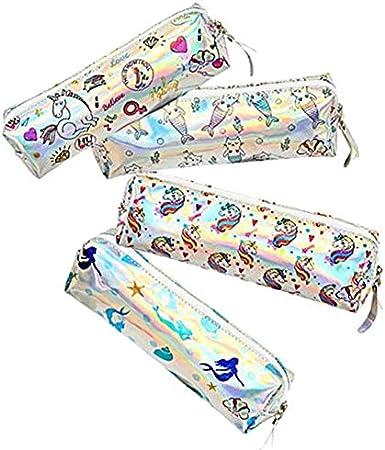 Oyfel - Estuche escolar de color blanco, diseño de unicornio, sirena o cactus - Para bolígrafos, lápices, maquillaje, artículos de baño - Cierre plateado - Color aleatorio: Amazon.es: Hogar