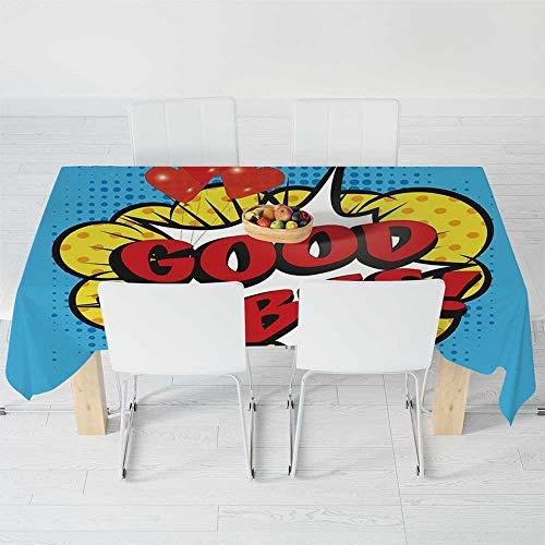 TecBillion Polyester Tablecloth,Good Vibes,for Wedding Banquet Restaurant,120 X 60 Inch,Pop Art Composition with Speech Bubble Retro