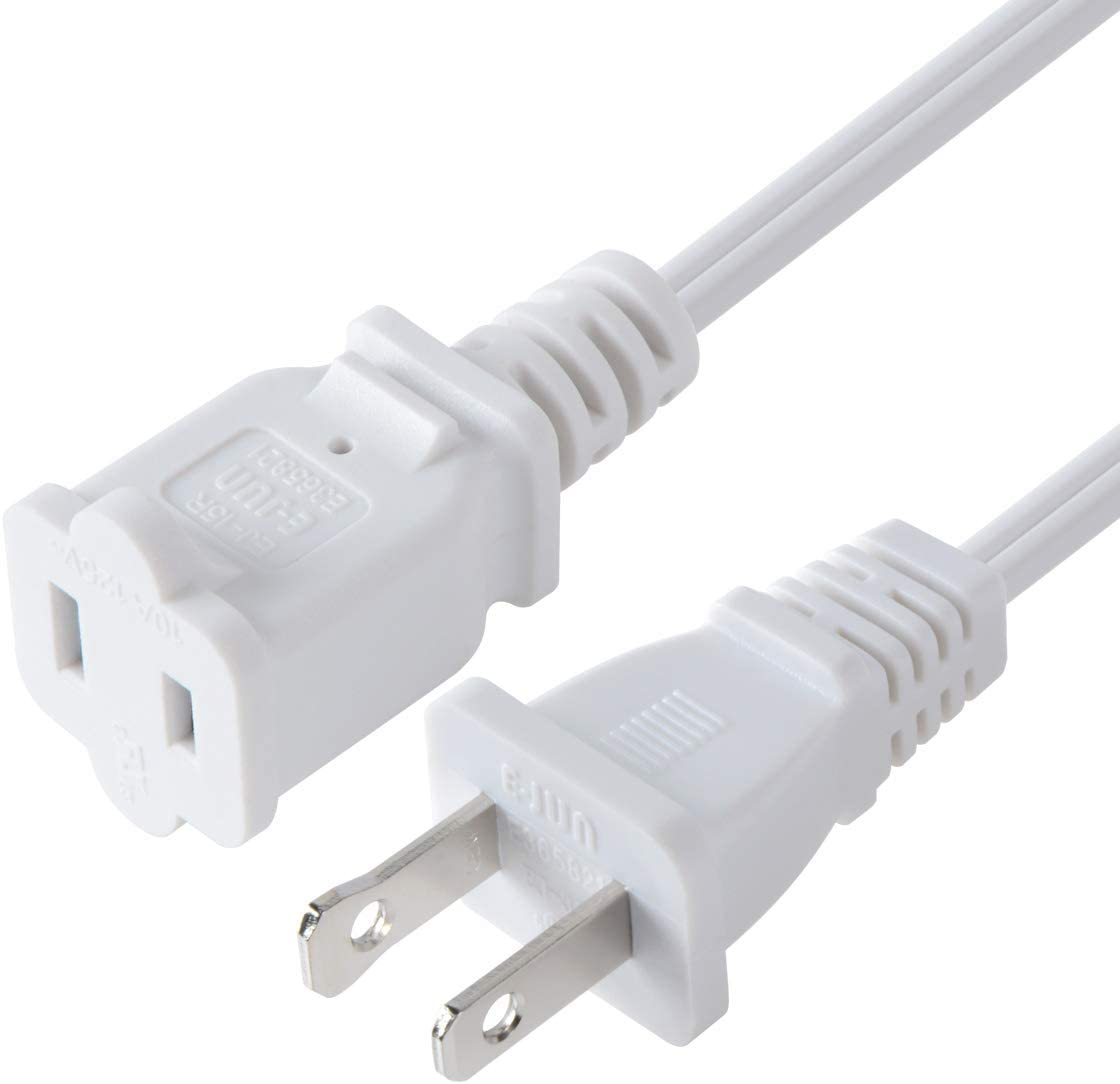 1.6ft//50cm Toptekits 2-Pack USA Outlet Saver Power Extension Cord Cable 125V 15A 2-Prong 2 Outlets for NEMA 5-15P to NEMA 5-15R