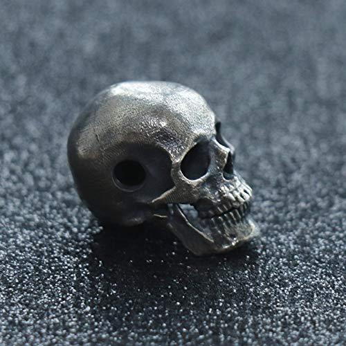 Glintbay Generation 1 Handmade Silver Skull Bead Biker Rocker Punk Pendant (Retro-L) (Sterling Bead Silver Skull)