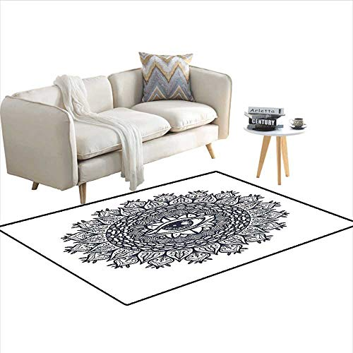 Rug,Vintage Symmetrical Circular Occult Pattern Knowledge of The Hidden Third Eye Providence,Area Carpet,Grey 40