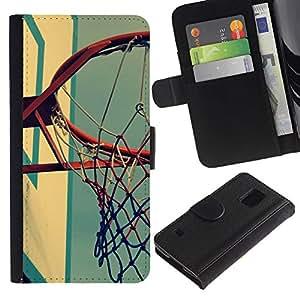 EJOY---Tirón de la caja Cartera de cuero con ranuras para tarjetas / Samsung Galaxy S5 V SM-G900 / --Cancha de Baloncesto retro