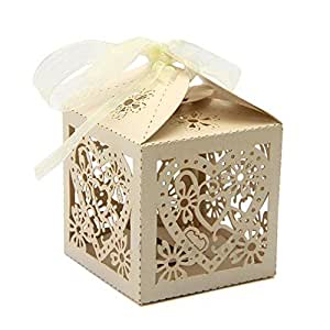 Wedding Gift Boxes Amazon : ... Gift Boxes With Ribbon Wedding Party Favor (Beige): Home & Kitchen