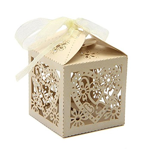 Chocolate Wedding Party Favors - PONATIA 50 PCS 2.3 Inches Love Heart Laser Cut Candy Gift Boxes With Ribbon Wedding Party Favor (Beige)