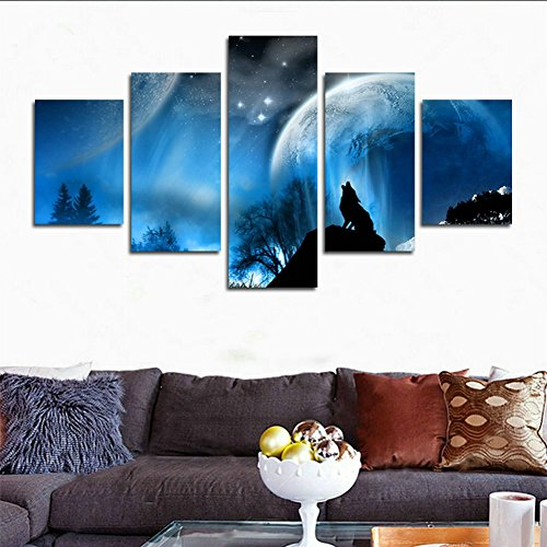 H.COZY 5 sets pictures of Wolf Moon Darkness Calming Black Fantasy Ultra Paintings - The Picture For Living