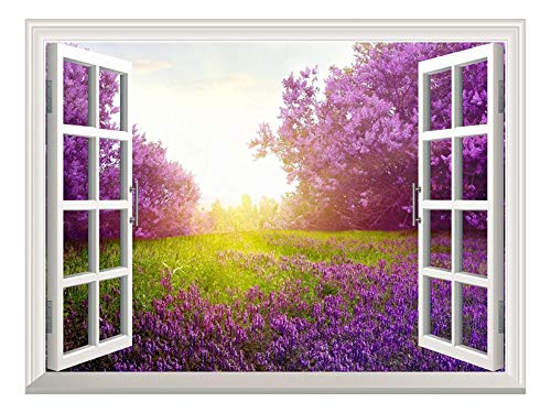 Removable Wall Sticker Wall Mural Majestic Purple Lavender and Trees out of the Open Window Creative Wall Decorr