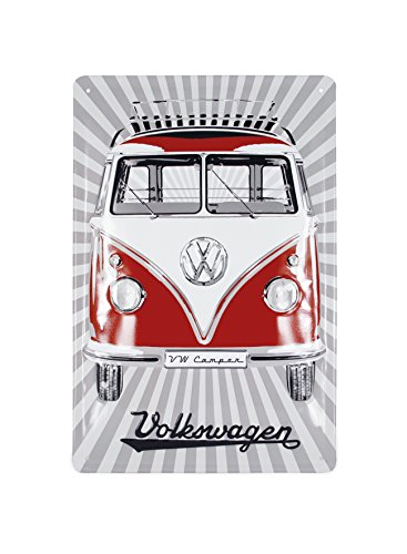 (BRISA VW Collection VW T1 Bus Metal Sign 20x30cm - Samba Stripes/Red)