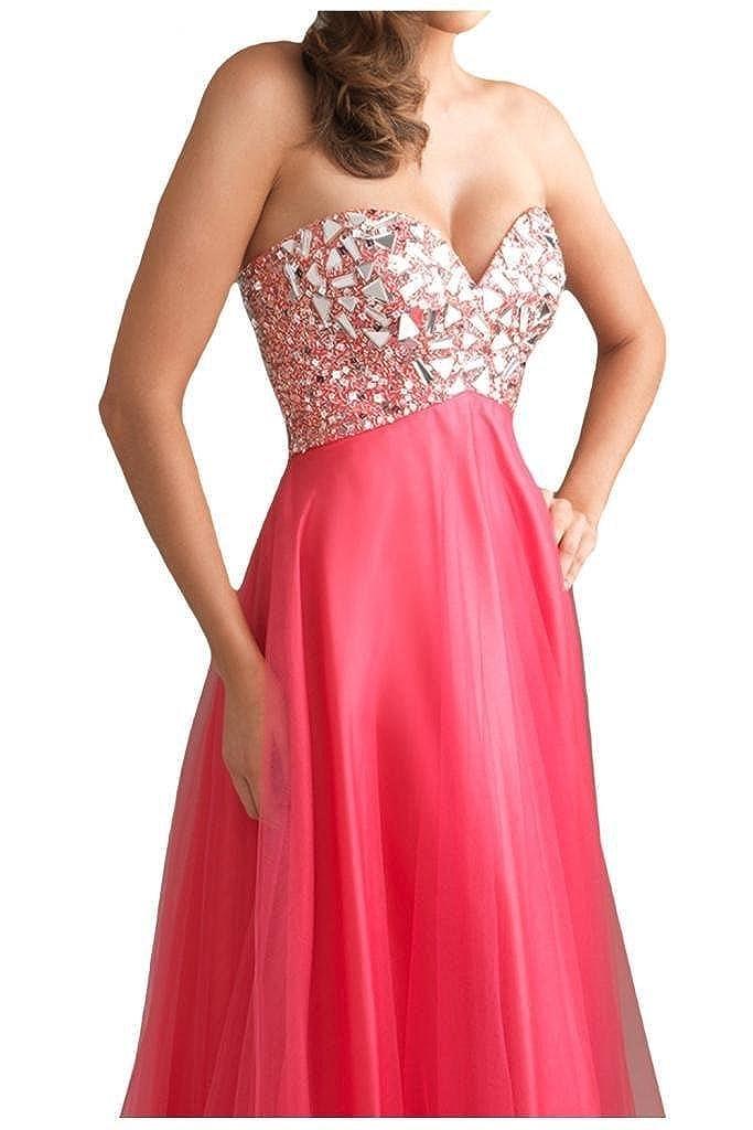 DLFASHION Womens Strapless Empire Tulle Long Prom Dress: Amazon.co.uk: Clothing