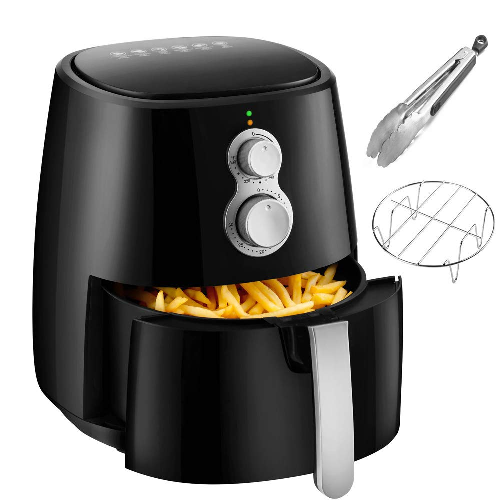 Air Fryer, 4.2QT Air Fryers w/Accessories Cookbook, Grill Rack and Tongs Black Fereol