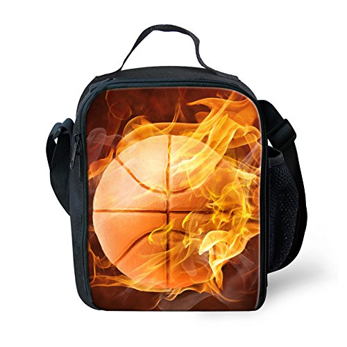 Coloranimal Fashionable Insulated Lunch Bags for Student 3D Basketball Lunchbox -