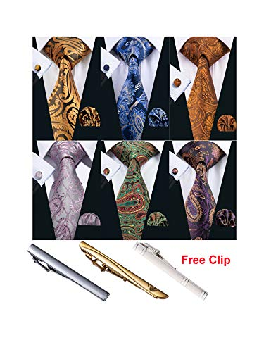 Barry.Wang Men Gold Paisley Tie Set Pocket Square Silk Floral Necktie with Tie Clip 6PCS