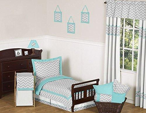 Sweet Jojo Designs 5-Piece Turquoise and Gray Chevron Zig Zag Toddler Bedding Girl or Boy Set
