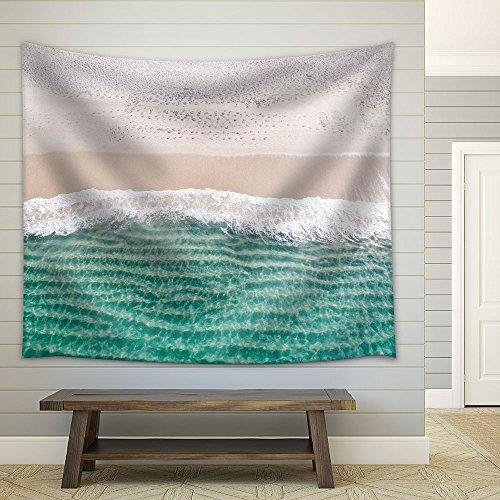 Clear Tropical Beach White Sand Blue Waves Fabric Wall
