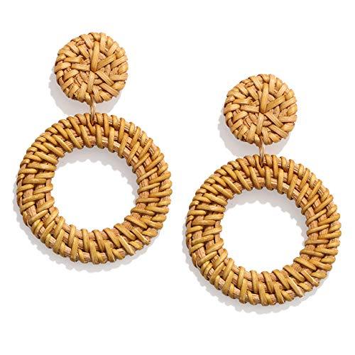 Weave Straw Double Disc Drop Earrings Boho Rattan Dangle Statement Earrings (rattan hoop)