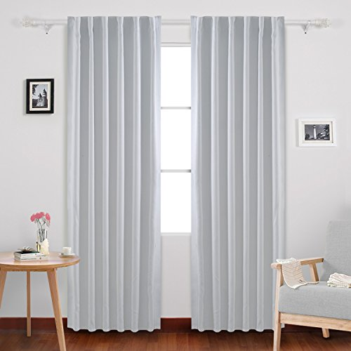 Deconovo Back Tab and Rod Pocket Curtains Blackout Curtains Thermal Insulated Room Darkening Curtains for Living Room 52x84 Inch Platinum White 2 Panels (White Pocket Curtains Rod)