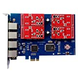 Analog FXO Card with 4 FXO Ports,PCI Express (PCI-E) Connector,For Elastix,Freepbx,Trixbox,Askozia ...