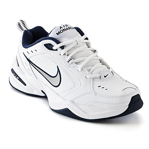 NIKE Men's AIR Monarch IV (4E) Running Shoes -12; White/Metallic Silver-Midnight Navy (10)